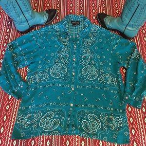 Turquoise Bandana Western Shirt!💎